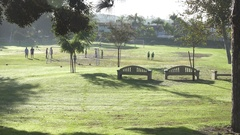 Morning at a park with a soccer football game about to begin on the grass field. Stock Footage