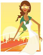 Stylish travel girl 60s inspired Art Collection / Gold Stock Illustration
