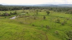 Rising up over a cattle farm cut out of the Amazon rainforest in Ecuador. Stock Footage