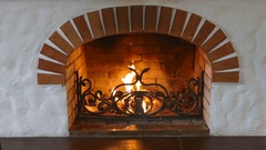 Fireplace. Burning fire Stock Footage