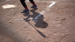 Shadows at a little league baseball game, super slow motion. Stock Footage