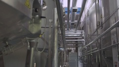 Cisterns and pipes at the dairy factory Stock Footage