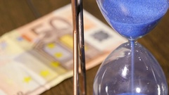 Hourglass With Euro Banknote Stock Footage