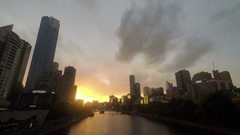 Melbourne Australia skyline sunset time lapse Stock Footage