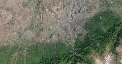 High-altitude overflight aerial of front range mountains near Almaty, Kazakhstan Stock Footage