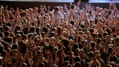 Applause. A crowd of people at a rock concert. Fans gather in front of the Stock Footage