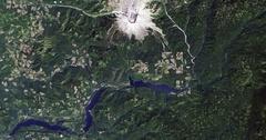 High-altitude overflight aerial of Mount St. Helens, Washington Stock Footage
