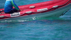 Great Barrier Reef Rescue Boat, Slow Motion Stock Footage