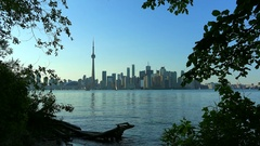 Toronto skyline in the afternoon seen from Centre Island- Canada Stock Footage