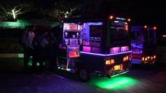 PHUKET, THAILAND - NOVEMBER 2016 : Taxi tuk tuk decorated with colorful Stock Footage