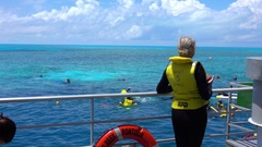 Great Barrier Reef, Woman Waving Hello Stock Footage