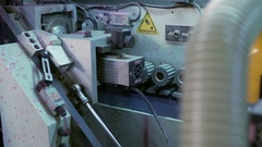 Edging PVC. View on running machine in workshop Stock Footage