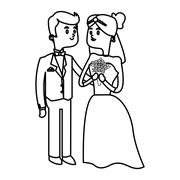 Isolated Bride and groom design Stock Illustration