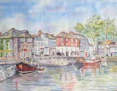 Padstow Village Harbour Stock Illustration