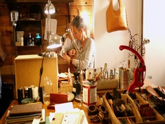 Attentive craftswoman working Stock Footage