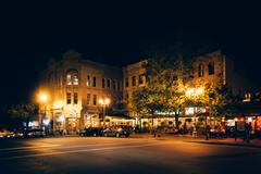 Buildings on Broadway at night, in downtown Asheville, North Carolina. Stock Photos