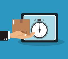 Box and chronometer of delivery concept design Stock Illustration