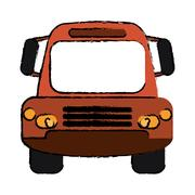 Drawing bus public transport city front view Stock Illustration