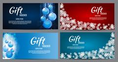 Christmas and New Year Gift Voucher, Discount Coupon Template Co Stock Illustration