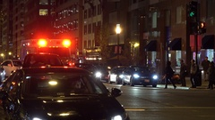 EMS ambulance, night, downtown Washington, DC Stock Footage