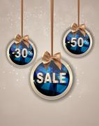 Christmas and New Year Sale Background, Discount Coupon Template Stock Illustration