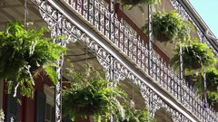 New Orleans French Quarter Wrought Iron Balcony and Architectural Detail Stock Footage