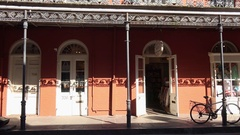 Classic Architecture of Building and Balconies in New Orleans French Quarter Stock Footage