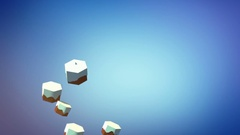 Low poly santa claus flying over the hexagonal wintery landscape Stock Footage