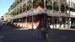 Classic New Orleans Style Architecture in French Quarter Stock Footage