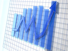 Blue Business Arrow Animated Upward Graph 4K Stock Footage