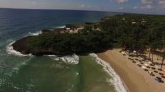 Aerial carribean beach shoreline - Dominican Republic Stock Footage
