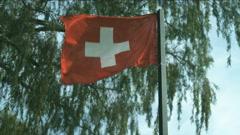 National flag of Switzerland Stock Footage