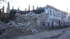 Ruins of Damaged House Stock Footage