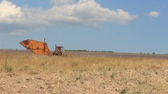 Combine Harvester at the Lavender Field Stock Footage
