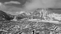 Snow!  4k aerial drone footage of a Colorado Mountain town after a blizzard Stock Footage