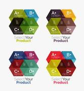 Set of abstract geometric hexagon design with options and text Stock Illustration