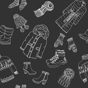 Winter season doodle clothes seamless pattern. Hand drawn sketch elements w.. Stock Illustration