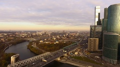 Moscow-City. Great big town. Aerial view of the capital of Russia - Moscow. 4K Stock Footage