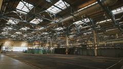 Production premise with a high ceiling and a large number of industrial Stock Footage