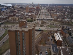 Tracking Aerial Toward Minneapolis City Rush Hour Traffic with Buildings Stock Footage