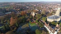 Pannning aerial view of Bridgnorth, Shropshire, UK. Stock Footage