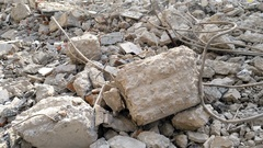 Pan view of the site of an old building demolition 4K Stock Footage