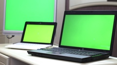 Typing On Laptop Green Screen Stock Footage