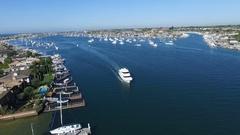 Catalina Island Cruise Boat in Newport Beach Harbor Stock Footage