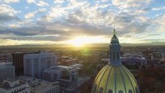 4k aerial drone footage.  Golden dome of Colorado State Capital.  City of Denver Stock Footage