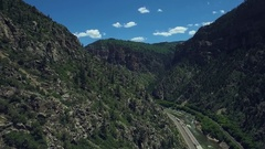 Aerial drone footage of the Glenwood Canyon, Glenwood Springs Colorado Stock Footage