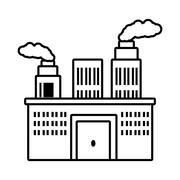Manufacture building pollution chimney outline Stock Illustration