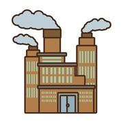 Cartoon manufacture building pollution chimney Stock Illustration
