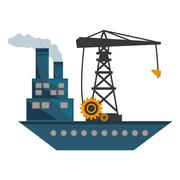 Ship cargo crane chimney pollution Stock Illustration