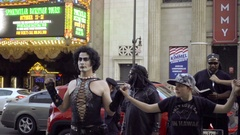 Rocky Horror Picture Show Frank N Furter protest with protest homophobia LA Stock Footage